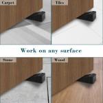BURKAL Black Rubber Door Stoppers, 2 Pack Heavy Duty Door Stopper with Double-sided Foam Tape, Durable Door Stop Wedges Great for Home Office School Use