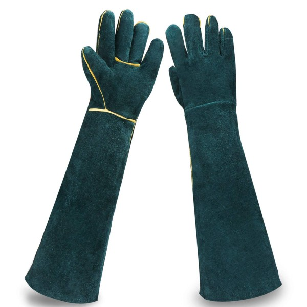 Animal Protection Gloves, EnPoint Pet Handling Glove Strengthened Cowhide Leather Anti Bite/Scratch Long Resistant Protective Feed Gloves for Reptile Dog Cat Bird Snake Parrot Lizard Wild Animals