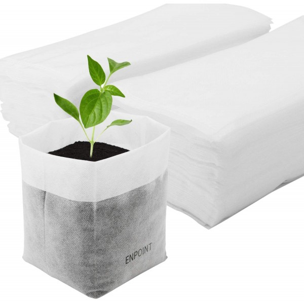 11 x 11.8 In Enpoint 100pcs Plant Non-Woven Nursery Bags, Plant Grow Bags