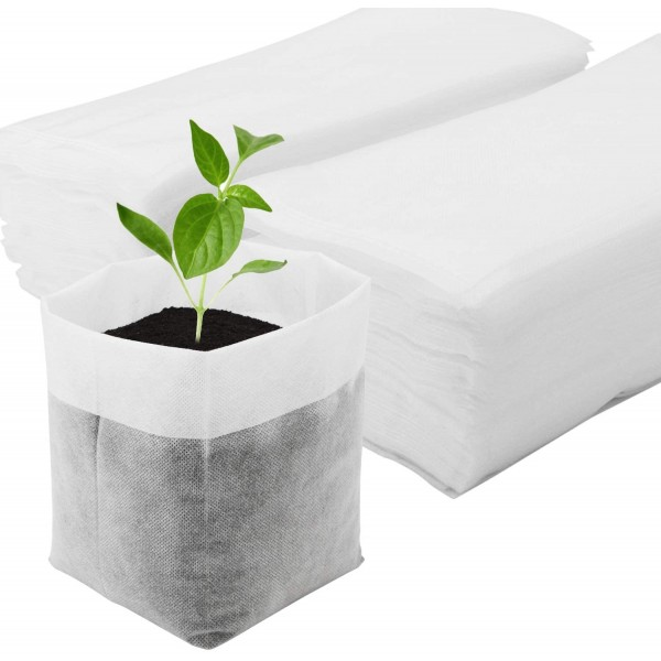 11 x 11.8 In Nursing Growing Pouch, Enpoint 100pcs Plant Non-Woven Nursery Bags Plant Grow Bags Fabric Seedling Pots Home Garden Supply for High Seedling Survival Rate Planting Growing